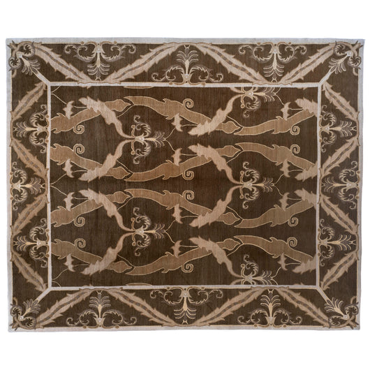 Contemporary Chinese Floral Design Area Rug