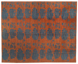 Rust and Blue Gray Floral Stencil Area Rug
