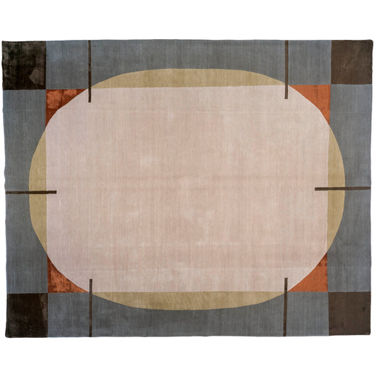 Contemporary Shapes Wool and Silk Area Rug