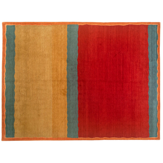 Red, Gold and Blue Kilim Look Tibetan Design Rug