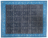 Transitional Blue Wool and Silk Area Rug
