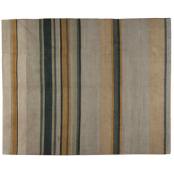 Earth Tones Tibetan Design Stripe Rug
