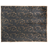 Black and Gold Floral Wool and Silk Area Rug