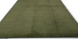 Forest Green Ribbed Wool Area Rug