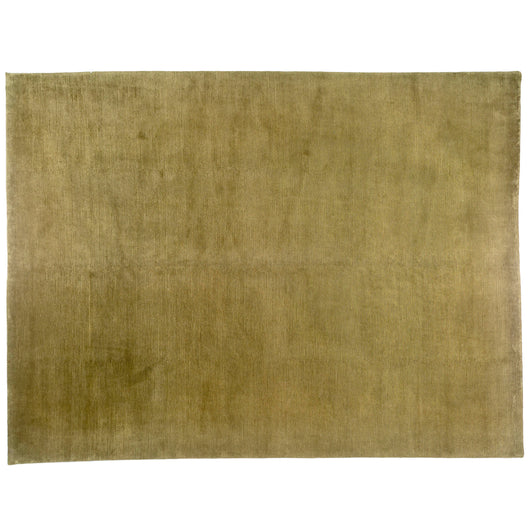 Green Ribbed Wool Area Rug