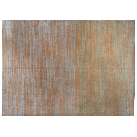 Ochre and Grey Contemporary Stripe Area Rug