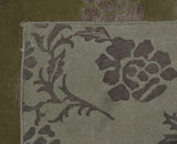 Gold Floral Wool and Silk Area Rug