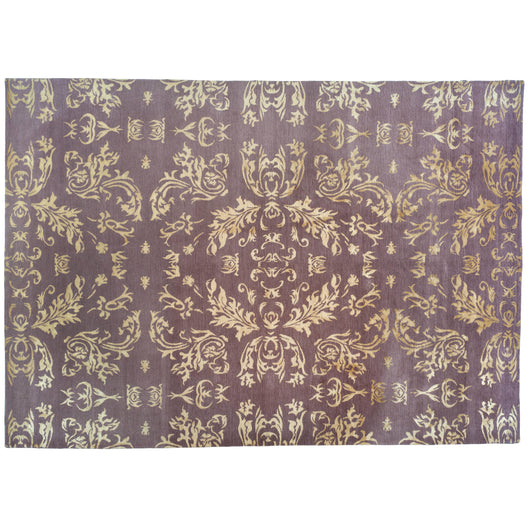 Purple and Gold Floral Area Rug