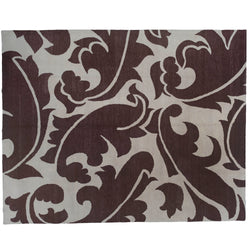 Chocolate and Cream Contemporary Area Rug
