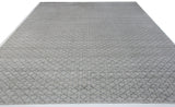 Silver and Grey Quatrefoil Design Wool Area Rug