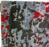 Contemporary Abstract Rug in Silver, Charcoal and Red