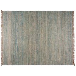 Blue, Brown and Ivory Contemporary Hemp Rug