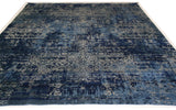 Blue and Silver High Low Area Rug