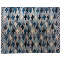 Blue Interlocking Puzzle Area Rug