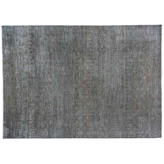Charcoal and Blue Geometric Pattern Rug