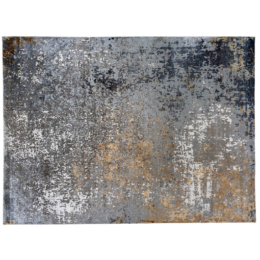 Silver and Ivory Abstract Area Rug