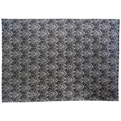 Charcoal and Silver Damask Design Area Rug
