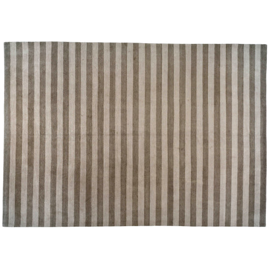 Brown and Beige Stripe Nepalese Area Rug
