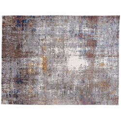 Contemporary Abstract Rug with Gold and Brown