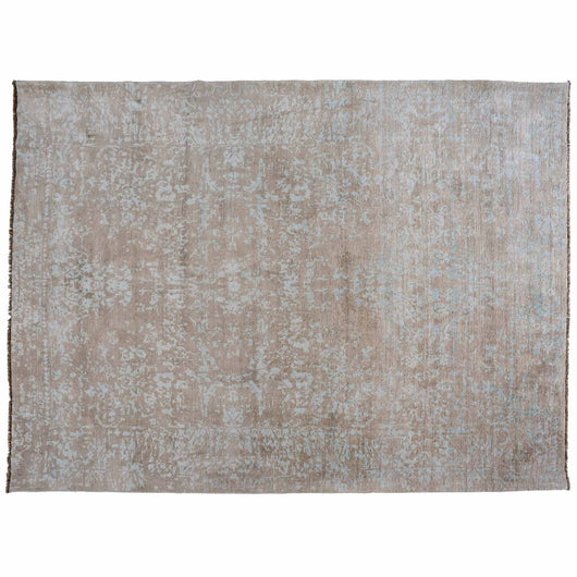 Contemporary Hi-Low Rug in Taupe and Teal