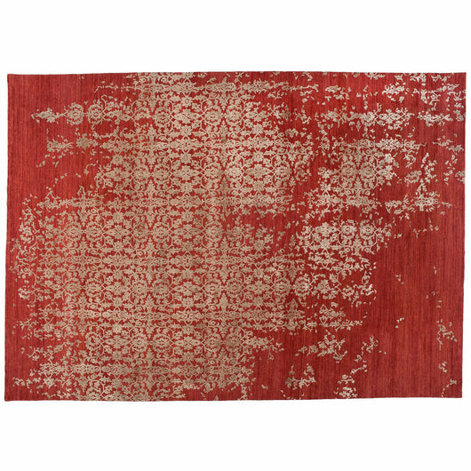 Floral High Low Wool and Silk Rug