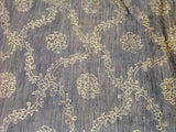 Silver Blue Floral Stencil Design Wool and Silk Rug