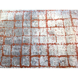 Grid Rust and Silver Rug