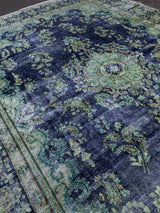Green Vintage Overdyed Rug