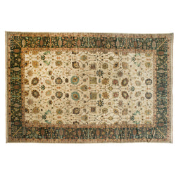 Ivory and Green Floral Rug