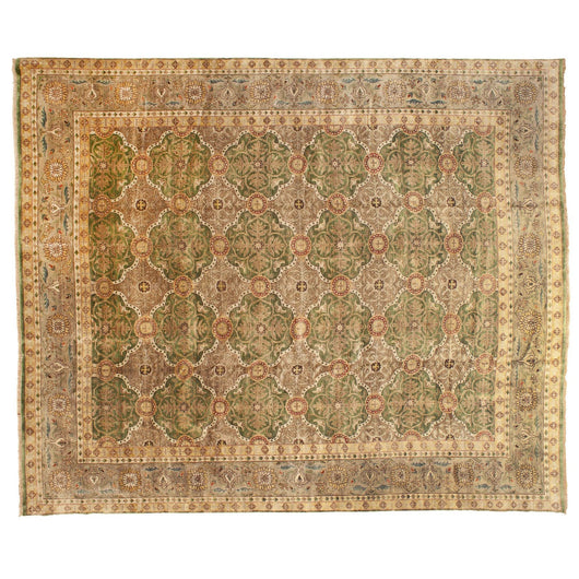 Green and Beige Indian Rug
