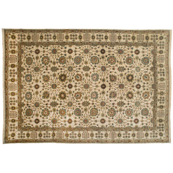 Ivory and Teal Floral Rug