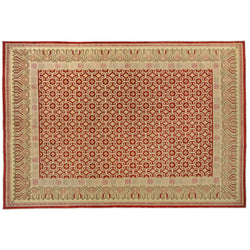 Red and Beige Traditional Style Wool Area Rug