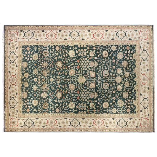 Green and Ivory Traditional Style Wool Area Rug