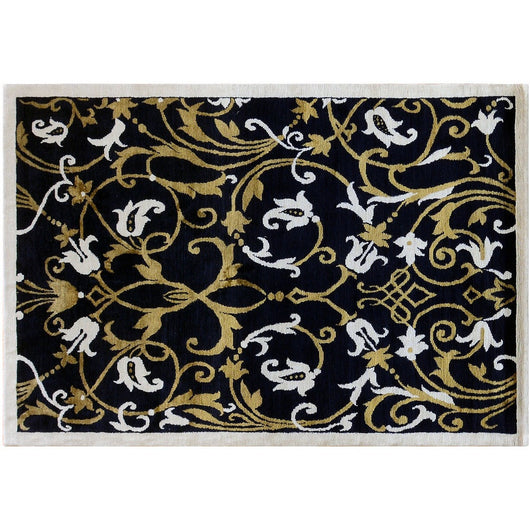 Floral Black And Gold Rug Aga John Oriental Rugs