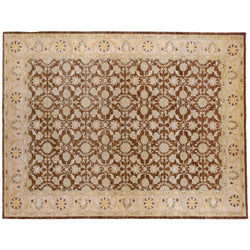 Brown and Beige Floral Rug