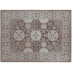 Brown Geometric Design Wool Area Rug