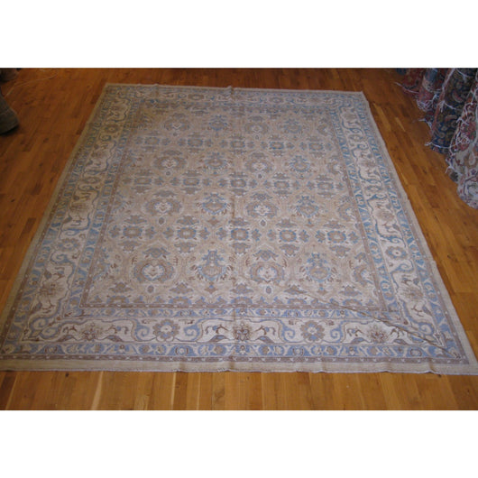 Beige and Blue Floral Design Rug