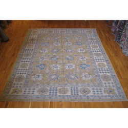 Tan and Blue Afghan Rug