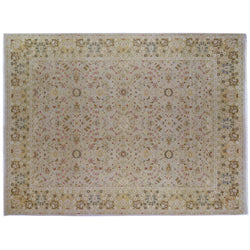 Floral Area Rug with Beige, Green and Gold