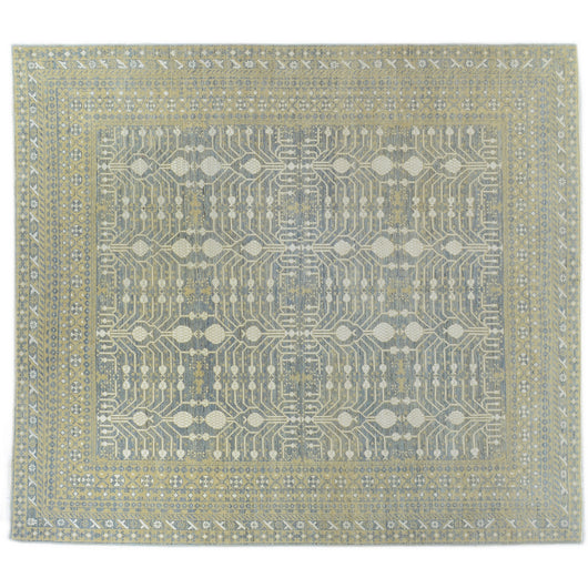 Blue Pomegranate Design Wool Area Rug
