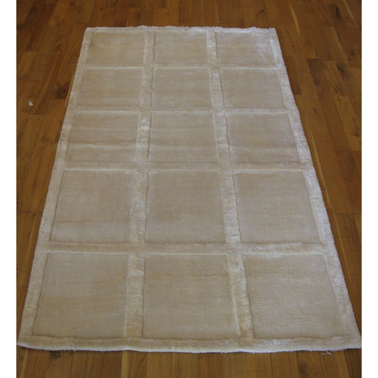 Natural and White Squares Rug