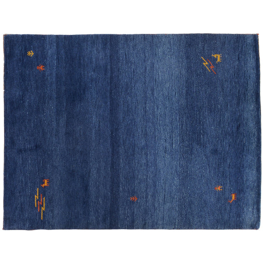 Dark Blue Wool Gabbeh Style Area Rug with Tribal Elements