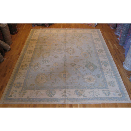 Light Blue and Gold Turkish Rug