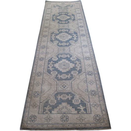 Beige and Blue Medallions Runner