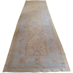 Light Blue Turkish Oushak Runner