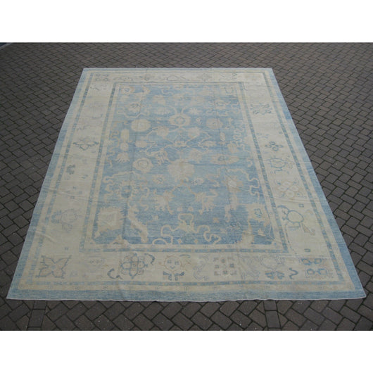 Blue and Beige Oushak Rug