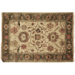 Ivory Green Indian Rug