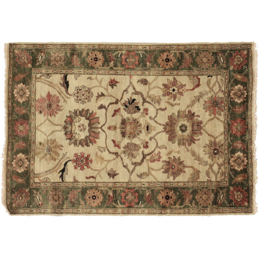 Contemporary Oushak Area Rug in Ivory and Green
