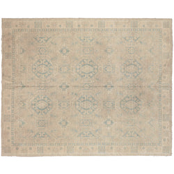 Ivory with Blue Medallions Afghan Rug