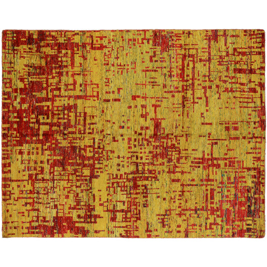 Red and Gold Contemporary Abstract Area Rug